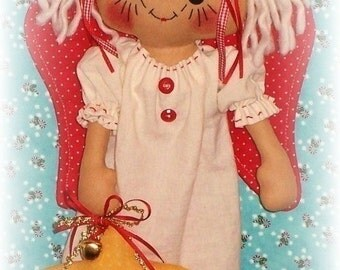 Angel Pattern, PDF pattern, Christmas Decoration, Rag Doll Pattern, Cloth doll Pattern, Sewing Pattern, primitive raggedy ann, annie,