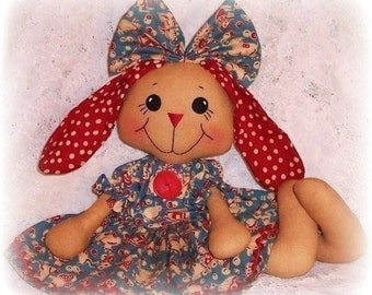 Bunny Rabbit PATTERN, PDF pattern, Softie, Animal, Rag Doll Sewing Pattern, primitive bunny rabbit doll pattern, instant digtital download
