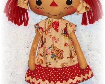 Cloth Doll Pattern, PDF sewing Pattern, Rag Doll Pattern, Raggedy Ann Pattern, Soft Doll Pattern, Softie, Primitive Annie, instant download
