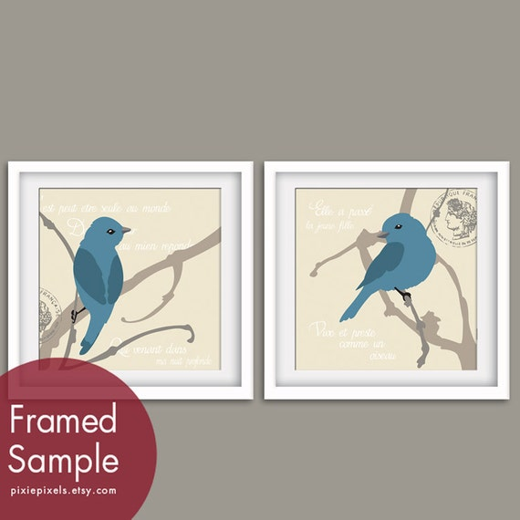 Paris Birds on a Branch Set of 2 - Square Art Poster Print Set (Blue Linen Birds on Cream) Buy 3 get 1 free