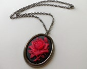 Rose Pendant Necklace Victorian Style Necklace Rose Cameo Black Jewelry Red Necklace Red Rose Jewelry Rose Pendant Necklace