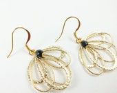 Black and Gold Earrings Filigree Dangle Earrings Gold Drop Earrings Feather Filigree