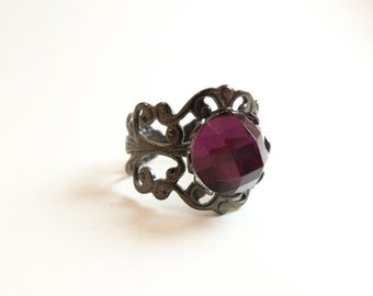 Dark Purple Adjustable Ring Dark Silver Ring Purple Jewelry Victorian Style Gunmetal