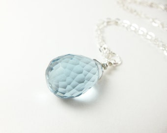 Light Blue Crystal Necklace Sterling Silver Jewelry Wire Wrapped Briolette