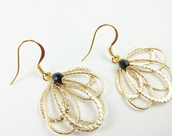 Black and Gold Earrings Filigree Dangle Earrings Gold Drop Earrings Feather Filigree