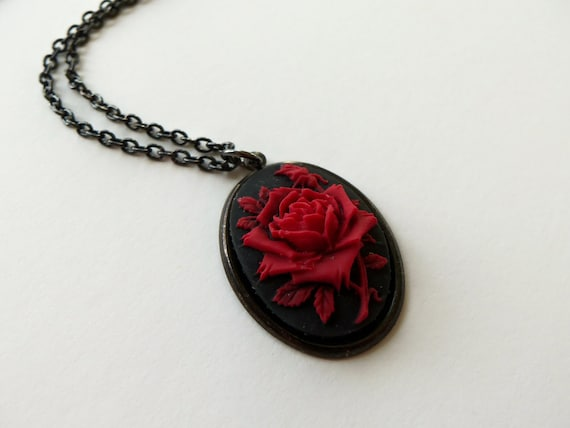 Rose Cameo Necklace Black Red Rose Pendant Gothic Jewelry Dark Red