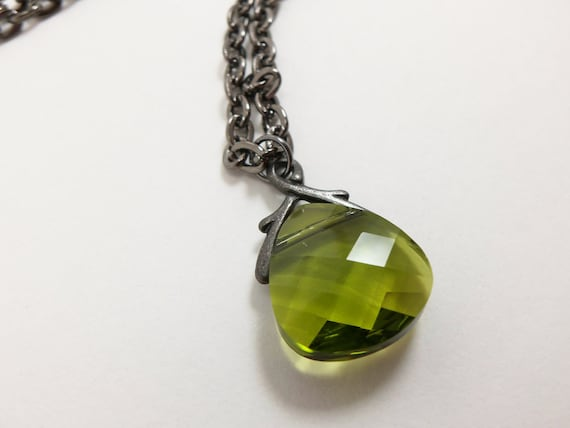 Olive Green Necklace Crystal Briolette Pendant Olive Green Jewelry Gunmetal Dark Silver