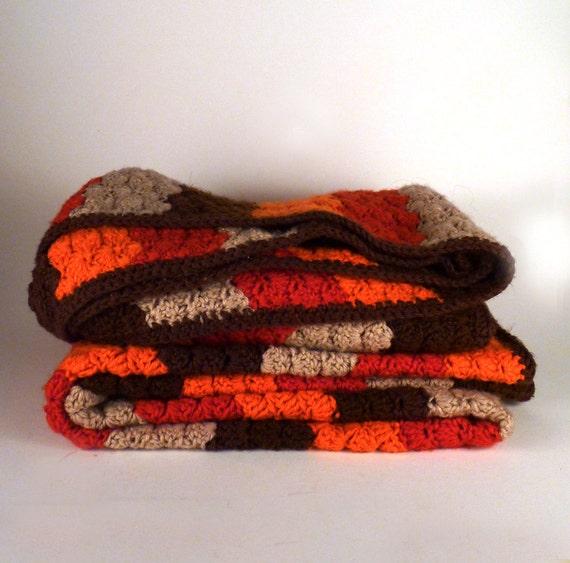 "Vintage Crochet Afghan Blanket 1970s Bright Fall Colors Acrylic stripes geometric melon orange chocolate 52"" x 62"" or 4.5' x 5'"