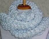 Winter Sky Blue Cotton Handknit Scarf