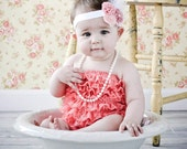 You Pick Size. Chicaboo Coral Ruffled lace petti romper / bloomer. Ages Newborn newborn to toddlers 4 years. More Colors available