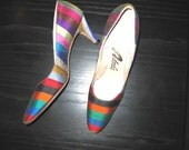 Vintage pair of 1960's Adore's pumps, Size 7N. High heels, Silk.  Vibrant colors.  WOW