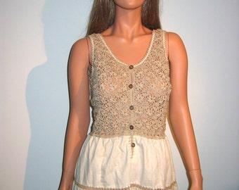 1970's Hippie Dress.  Sweet. Hippie.  Boho.  Prairie.  Woodstock.  NOS.  Size Medium.