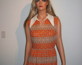 1970's Groovy Love Child Sun Dress.  Hippie.  Boho.  Prairie.  Woodstock.    Size 18.