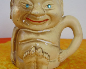 Vintage Buddha Tiki Mug.  Rhinestone eyes.  Hawaiian, Tiki Bar