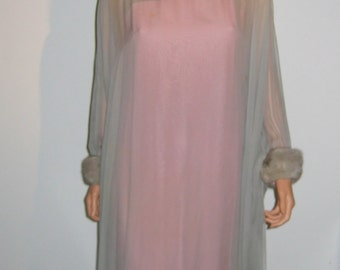 Breathtaking silk chiffon and mink, goddess gown. Vintage formal dress, Bombshell,  Hollywood Couture Glamour.  Grey and Pink.