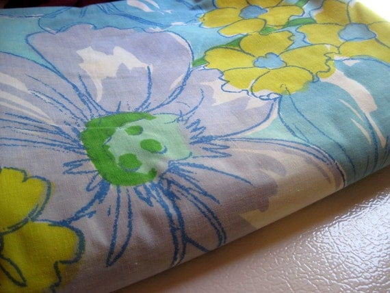 Reserved for Leanne--   Vintage twin flat sheet