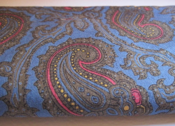 Vintage blue paisley fabric, red swirl, red paisley, vintage material, retro, 1970s