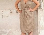 Twist  Dress  ,Wrap Dress, Linen Dress , Pocket Dress