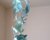 Tossing Waves - Turquoise and Seafoam cut paper vertical sculpture - mobile