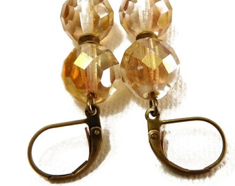 Simple Sparkle Earrings - neutral and  brass