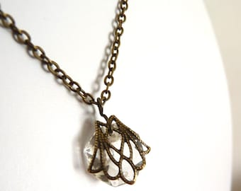 Brass Filigree crystal Pendant Necklace- Upcycled Chandelier crystal