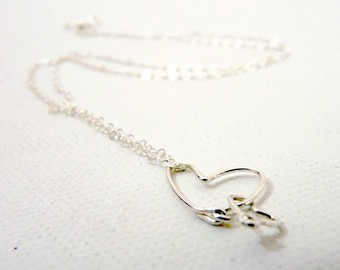 2 Hearts Sterling Silver Necklace - Love for Two-