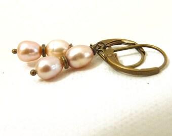 Palest Pink Freshwater Pearl Earrings - brass