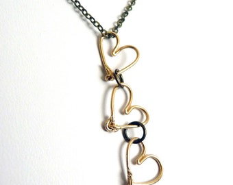 3 Hearts pendant- Mother's Necklace - brass
