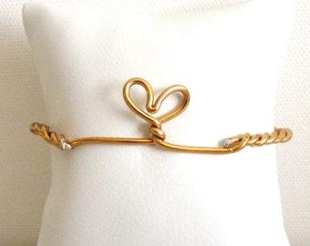 Golden Heart Brass half cuff - aluminum