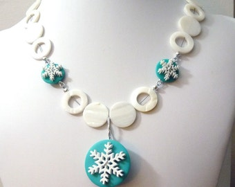 Snow Dream Necklace -White and Tiffany Blue snowflake necklace