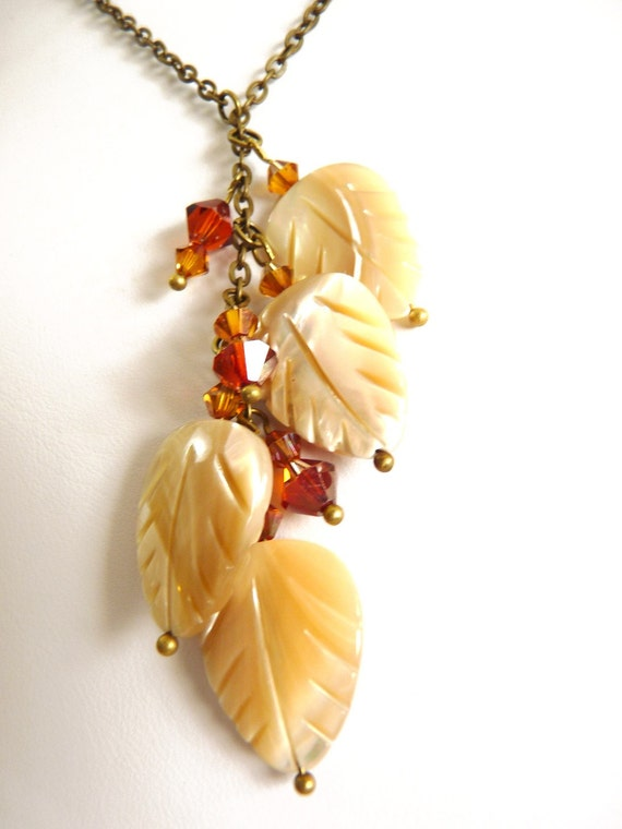 Amber Sparkling Leaf Necklace - brass and mother of pearl