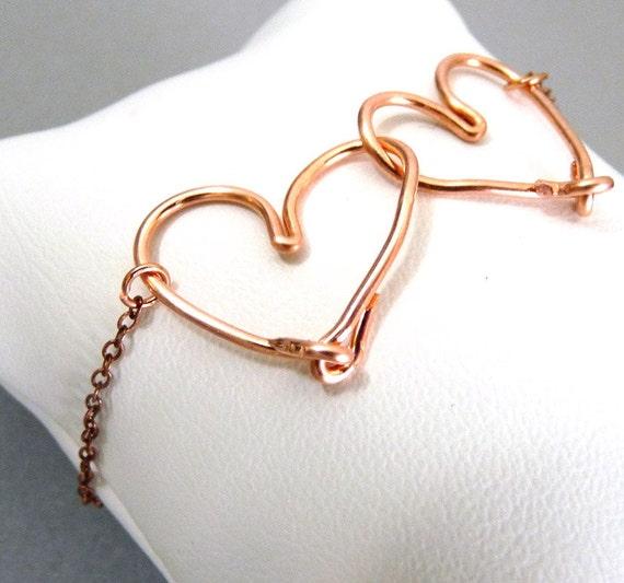 2 Hearts Bracelet - copper