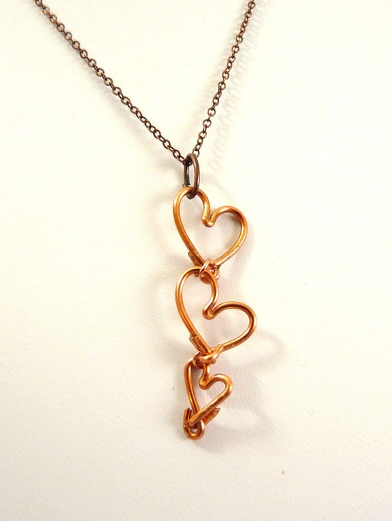 3 Hearts Mother's Necklace - copper - heavy weight