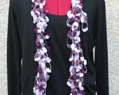 SALE ** Was 20 - NOW 10 * Crochet Pompom Skinny Scarf, Purple, Lilac, Handmade, One of a Kind
