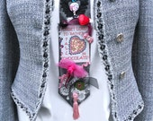 Anti Valentine's Women's Necktie / Highly Embellished Mixed Media / Chocolate / Black Crochet Heart, Red, One of a Kind