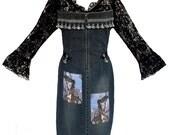 Upcycled Denim Apron, Black Lace, Photo Embellished, One of a Kind