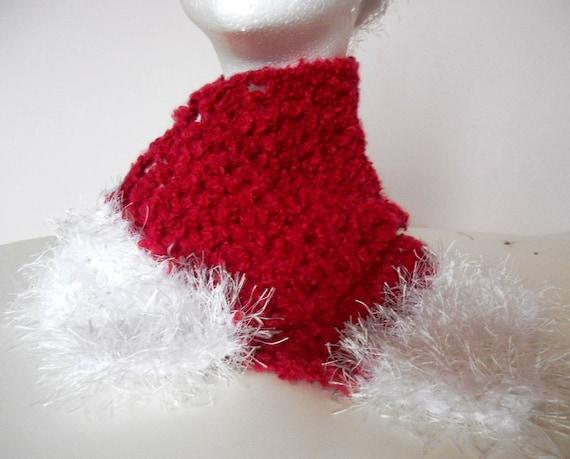 SALE / Girl's Santa Style Handmade Crochet Scarf & Earwarmer / Red, White, One of a Kind