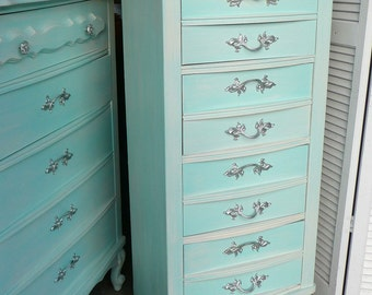 Lingerie Chest Parisian Tall Lingerie Chest Vintage Poppy Cottage Painted Furniture Custom Paint to Order