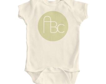 Baby ABC Design on Natural ORGANIC Bodysuit