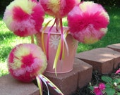 Tulle Wand- Raspberry Lemonade Poof Wand - Princess Wand- Magic Wand- Fairy Wand- Party Favor