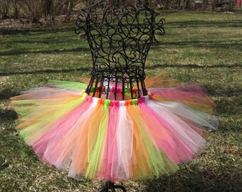 Girls neon tutu- lime green tutu- pink and orange tutu- SPRING SHERBET- girls birthday tutu- Bright colored tutu