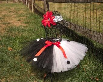 CRUELLA DEVILLE tutu- Cruella Costume- Baby Cruella Costume- Dalmations tutu- Black and White tutu- Dalmations Costume- Girls Halloween tutu