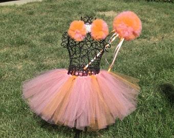 ZOE Tutu Set, Sesame Street Costume, Zoe Costume , Girls Orange and Pink tutu, -Tutu, Headband/Poof Clips, Poof Wand