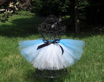 Alice in Wonderland Costume- Alice Birthday Party-  Blue and White Tutu---Alice Tutu- Girls Alice tutu- Alice in ONEderland tutu