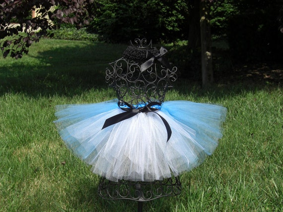 Alice in Wonderland Costume- Alice Birthday Party-  Blue and White Tutu---Alice Tutu- Girls Alice tutu- Alice in ONEderland tutu