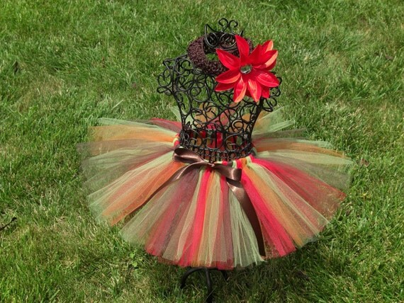 Harvest Tutu- Autumn Tutu- Fall tutu- CARAMEL APPLE TUTU- Olive green tutu-Copper Tutu-Infant/ Toddler/ Child Tutu- Woodland Fairy Costume