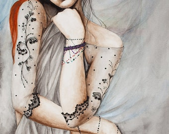 "Limited Edition Giclee Print  ""PHAEDRA""  from Original Water Color"