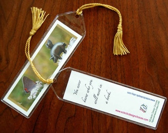 Pigasus Meets Butterfly Mini Art Bookmark with Tassel - Small, Flying Pig Bookmark, Whimsical Party Favor, Illustrated Bookmark
