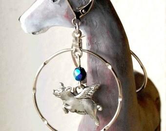 Pigs Flying through Hoops Earrings with Bead Color Choice, Flying Pig Earrings, Pigasus Lightweight Earrings, Leverback Dangle Earrings