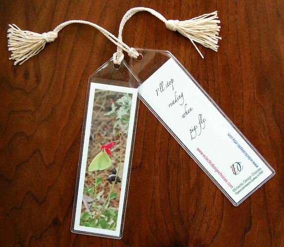 Pigasus Flyby Mini Art Bookmark with Tassel - Small, Flying Pig Bookmark, Illustrated Bookmark